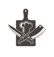 kithen cutting board knives and chef hat vector image