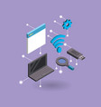 laptop technology with data service connect vector image