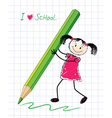 little girl with a pencil vector image vector image