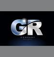 metal blue alphabet letter gr g r logo company vector image vector image
