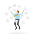 office worker jumps up and throws paper vector image
