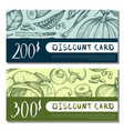 organic food shop discount card set vector image