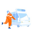 paramedic or rescuer female character wearing vector image