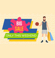 promotion sales and discounts young shopper vector image