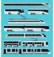 Public Transport Orthogonal Icons Set vector image