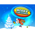 Santa Claus in airship full of gifts - on sh vector image vector image