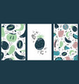 set hand drawn cards with fruits and vegetables vector image vector image