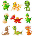 set of cartoon dinosaurs collections vector image vector image