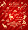 set of christmas items and new year design element vector image