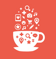 set of icons of cups of coffee fly white and red vector image