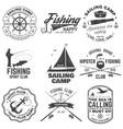 set sailing camp and fishing club badges vector image vector image