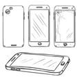 set sketch smartphones vector image vector image