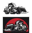 silhouette bulldozer earthmover construction vector image
