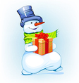 snowman holding a gift vector image vector image