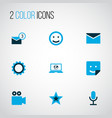 social icons colored set with inbox gear laptop vector image vector image
