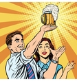 Triumph beer festival bar pub man and woman vector image