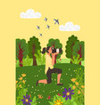 woman taking photos nature meadows pictures vector image vector image