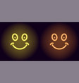 yellow and orange neon smile vector image