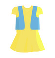 yellow summer girly dress with blue jeans jacket vector image vector image