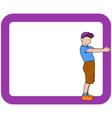 boy holding frame vector image