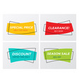 4 trendy flat sale vivid colors rectangle stickers vector image vector image