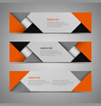 abstract horizontal banners with orange gray vector image vector image
