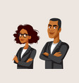 african businessman and businesswoman standing vector image