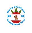 badge a dog in a christmas ball vector image vector image