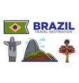 brazil travel attractions and famous culture vector image vector image