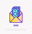 bribe thin line icon money in opened envelope vector image