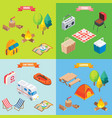 camping objects in isometric style flat 3d vector image vector image