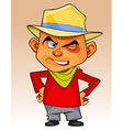 cartoon man in a hat standing with hands on hips vector image vector image