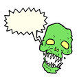 cartoon scary skull with speech bubble vector image vector image