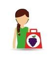 character shopping grape fruit vector image