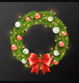 christmas garland reath isolated on transparen vector image vector image