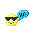 cute emoticon in sunglasses saying hi yellow vector image vector image