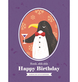 Cute Penguin Animal Cartoon Birthday card design vector image vector image