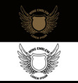 emblem template with winged shield design element vector image
