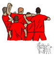 five soccer players celebrating after shooting vector image vector image
