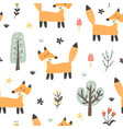 funny fox seamless pattern forest background vector image