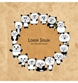 Funny panda family frame for your design vector image vector image