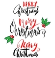 Greeting card with a Christmas holly berries and vector image vector image