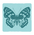 grunge butterfly silhouette emblem vector image