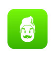 hipster man face icon green vector image vector image