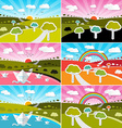 Landscape Field Set - Flat Design Nature wit vector image vector image