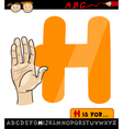 letter h with hand cartoon vector image