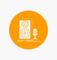 live mic microphone record sound white glyph icon vector image