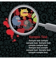 Magnifying glass and microbes in it vector image vector image