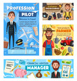 manager pilot farmer photographer occupations vector image vector image