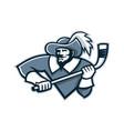 musketeer ice hockey mascot vector image vector image